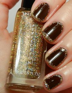 CHIC NAILS l gold frame l glitter    See more at http://www.nailsss.com/french-nails/2/
