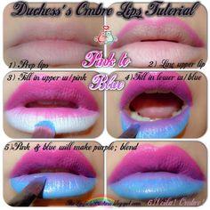 Impressive #pink  And #blue  Lips #lips #ombre #ombrelips #lipstick #lipart #makeuptutorial #makeuptutorial