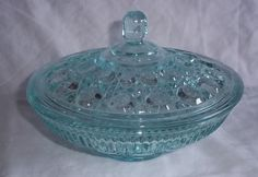 Vintage Aqua Blue Windsor Candy Bowl with Lid Compote Dish