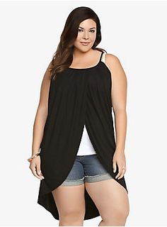"""It's time to blossom in a new look. This black pleated tank has a relaxed fit with a cool tulip split that gives it a distinct appearance. It's a super soft casual knit top that's perfect for layering and ready for a chill, fun weekend adventure.<br><br><p><b>Model is 5'9"""", size 1</b></p><ul><li> Size 1 measures 27 3/8"""" from front</li><li>Rayon/spandex</li><li>Wash cold, dry flat</li><li>Made in USA plus size tank</li></ul>"""