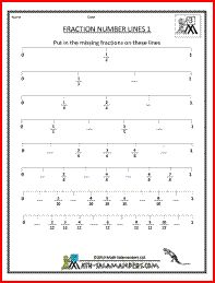 Fraction Number Line Worksheet, a 3rd grade fraction worksheet to place fractions correctly on a number line