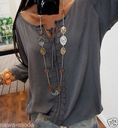 F30B0P BLUSE M L 42 Neu BLOGGER TREND SHIRT Italy Musthave Spitze Boho 38 Chic