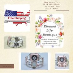 Now Offering FREE SHIPPING on all orders!!  Handmade Women's Beaded Bracelet Watch Bands Compatible for Apple Smartwatch (38mm & 42mm) and other Watch faces ~ made in the USA by www.elegantlifeboutique.com  Please visit my website, Etsy shop or my new eBay store @ElegantLifeBoutique #applewatch #fashionideas #etsy #eBay #jewelry #fitness #beauty