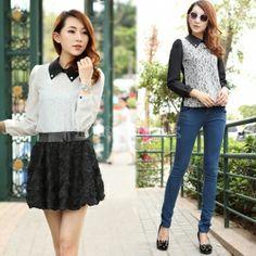 Elegant Korean Women's Doll Collar Lace Chiffon Splicing Long Sleeve Blouse