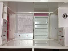 Done with the basic structures of the Barbie closet. The bars, shelves, and walls are all up & covered. Still want to add carpeting, a chandelier, a fabric covered ottoman, and a mirror.