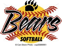 Vector - bears softball - stock illustration, royalty free illustrations, stock clip art icon, stock clipart icons, logo, line art, EPS picture, pictures, graphic, graphics, drawing, drawings, vector image, artwork, EPS vector art