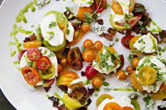Crazy Caprese with Heirloom Tomatoes, Cherrywood Bacon, Bleu Cheese, Micro Greens & Thai Basil Oil by Chef Martin