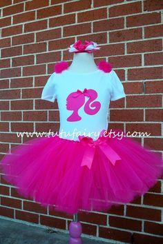 """Pink Barbie Tutu Set. includes 5 Pieces. 6"""" Hair bow. Size Newborn - 5t"""