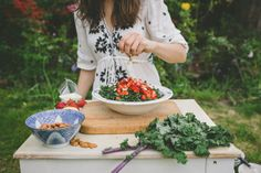 Strawberry and Kale Salad (with red quinoa) from healthy vegetarian food blog threeseedlings.com Kale Salad, Quinoa, Whole Food Recipes, Vegetarian Recipes, Healthy, Strawberry, Beautiful, Red, Blog