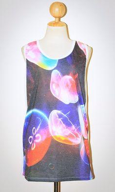 Jellyfish White Singlet Tank Top Photo Transfer Art Punk Rock Pop Animal T-Shirt Size L