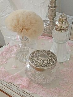 vintage powder box & puff, love