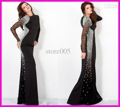 Wholesale Black Long Sleeve Crystals Mermaid Evening Dresses Gowns Floor Length E1456, Free shipping, $138.88-161.28/Piece | DHgate
