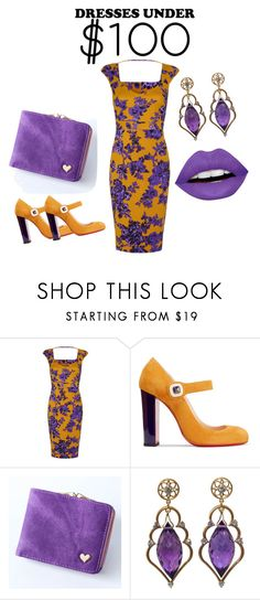 """Dresses under $100 dollars Sun Spotted Purple"" by keyitta-nyisha-dawsey ❤ liked on Polyvore featuring Christian Louboutin, Wayne Smith Jewels and LunatiCK Cosmetic Labs"