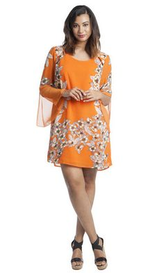 Olivia Floral Bell-Sleeve Dress