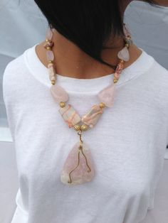 Gorgeous rose quartz and redline marble with gold wirewrap necklace by PiddlesandDoodles, $65.99