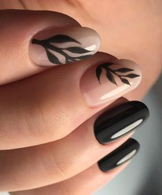 Cute Nature Loving Black Prom Nail Art Designs