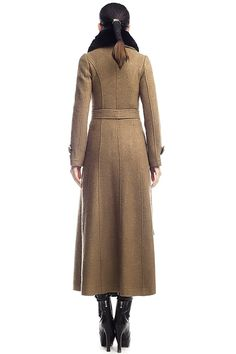 collars light brown long Cloth long coats detachable by Aolo, $167.00