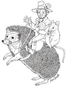 A Leprechaun takes a Hedgie Ride-free coloring page