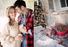 Hot cocoa and cozy winter cuddles | engagement shoot date | (Harwell)