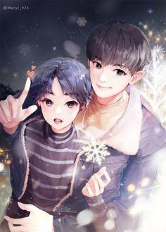 EXO Fan Arts // Chanyeol and tiny little Hyung, Minseok.