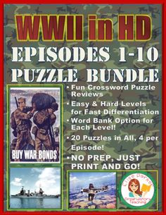 Crossword Puzzles for all 10 episodes of WWII in HD! 40 puzzles in all means lots of differentiation right at your fingertips. You'll get basic Battle Of Saipan, Teaching Materials, Teaching Ideas, Teaching History, History Channel, World History, Critical Thinking, Social Studies, Teacher Pay Teachers