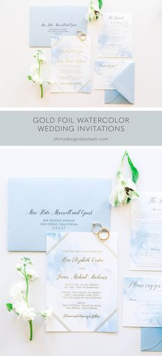 Blue Watercolor and Gold Foil Wedding Invitations for a romantic, beach destination wedding. Order a sample now!