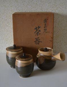 Kirishima-yaki ceramic Japanese kyusu tea set, stamped and boxed by StyledinJapan on Etsy