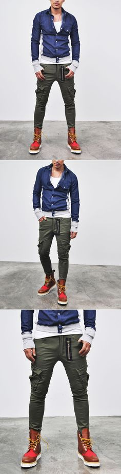 Bottoms :: Pants :: Lowrise Zipper Span Skinny Cargo-Pants 45 - Mens Fashion Clothing For An Attractive Guy Look