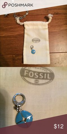Fossil charm for bracelet Beautiful blue and silver fossil charm Fossil Jewelry Bracelets