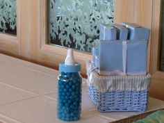 Baby Boy Shower guessing game and prize basket