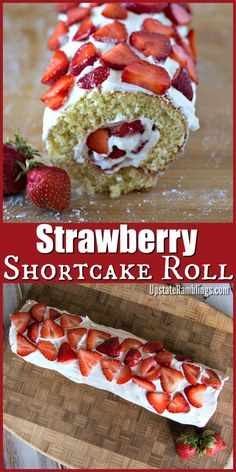 This tasty Strawberry Roll Cake is made from strawberries and whipped cream rolled up in sponge cake. This Strawberrry Shortcake Roll is an easy strawberry shortcake recipe that is perfect for summer gatherings. #strawberry #shortcake #dessert #cakeroll #summer