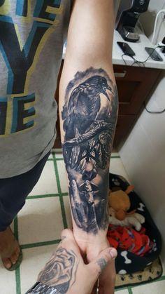 #face #tattoo #tattoos #horror #girl #crow #forest #blackandgrey #forearm #men