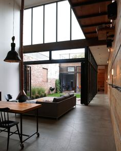Central courtyard with glass walls