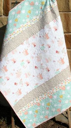 Rabbit Baby Bedding Bunny Baby Quilt Toddler Nursery Decor Littlest Crib Blanket Mint Coral Gray Gifts for Kids Girl Handmade Baby Gift - Color Name Baby - Ideas of Color Name Baby - Love those colors for a baby quilt Quilt Baby, Baby Girl Quilts, Girls Quilts, Girl Bedding, Baby Quilt For Girls, Crib Quilts, Handgemachtes Baby, Toddler Quilt, Toddler Blanket
