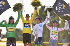 The four classification winners on the Paris podium: Peter Sagan, Chris Froome, Simon Yates and Rafal Majka