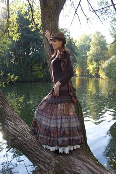 Items similar to Picturesque brown tiered long skirt from silk and viscose. on Etsy Maxi Skirt Fall, Maxi Skirt Outfits, Long Maxi Skirts, Boho Outfits, Long Sleeve Maxi, Shibori, Boho Chic, Trending Outfits, My Style