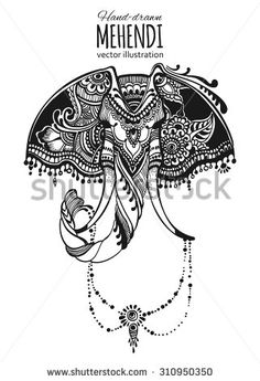 Hand-drawn mehendi elephant.  Ethnic african, indian, totem tattoo design. Vector illustration.