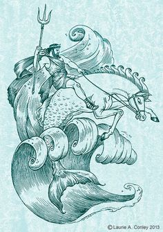 Poseidon by Laurie Conley, via Behance Poseidon Drawing, Poseidon Tattoo, Siren Creature, Greek Symbol Tattoo, Illustration Pen And Ink, Greek Mythology Tattoos, Chaim Soutine, Underwater Art, Renaissance Jewelry