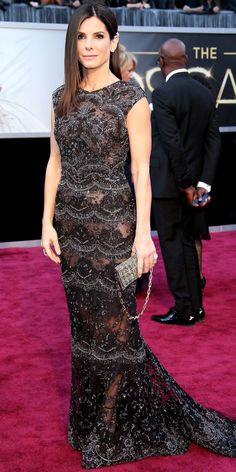 Sandra Bullock's Red Carpet Style - Elie Saab Haute Couture, 2013  - from InStyle.com
