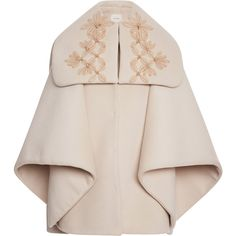 DELPOZO Embellished Cape Coat (€1.595) ❤ liked on Polyvore featuring outerwear, coats, jackets, capes, delpozo, dusty white, floral print coat, reversible coat, white coat and cape coat