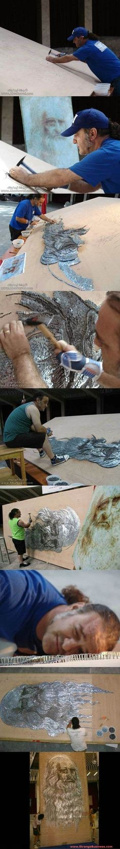 AMAZING ARTIST - WORLD'S LARGEST NAIL MOSAIC - INCREDIBLE DETAIL CREATES 3-D ARTWORK FROM HAMMERED NAILS!
