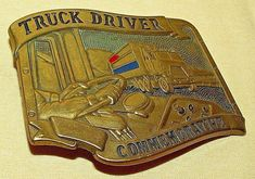 TRUCK DRIVER BELT BUCKLE COMMEMORATIVE SOLID BRASS BARON BBB LIMITED 1ST EDITION #BARONBUCKLES #Novelty
