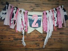 Cowgirl Denim and Lace Birthday Banner Farm Country Pink Photo Prop Girls Birthday Camo / Country by JadeandJo on Etsy
