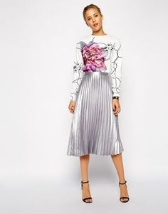 ASOS   ASOS Pleated Midi Skirt in Metallic at ASOS