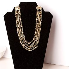 Vintage Kramer Multi Strand Gold Tone by TwiceBakedVintage on Etsy,