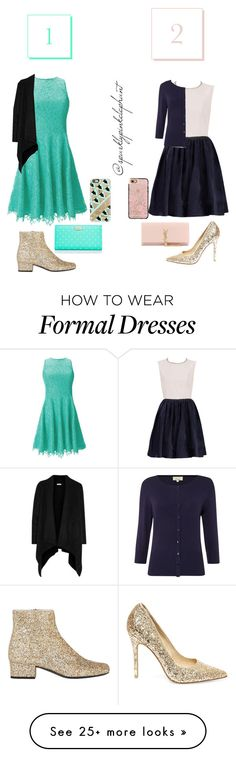 """Comment on your fav! Semi-Formal 1"" by sparklypinkelephant on Polyvore featuring Steve Madden, Yves Saint Laurent, Shoshanna, Kate Spade, Linea, Joie, Casetify, women's clothing, women's fashion and women"