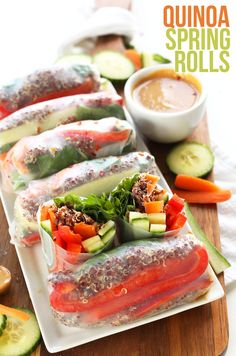 30 Minute QUINOA Spring Rolls with Cashew Dipping Sauce! I fully intend to UNvegan these by adding shrimp. And I'll use rice noodles in lieu of quinoa. Healthy Recipes, Vegetarian Recipes, Vegetarian Spring Rolls, Baker Recipes, Cooking Recipes, Clean Eating, Healthy Eating, Vegan Dinners, Fresh Vegetables
