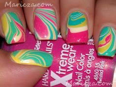 Tropical water marble nails