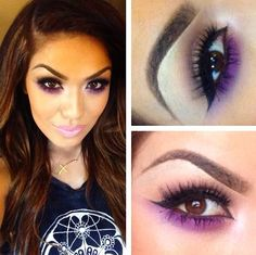 Im obsessed with this look! The purple underneath really makes her eyes POP