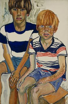John and Joey Priestly Oil on canvas, 1968 - Alice Neel